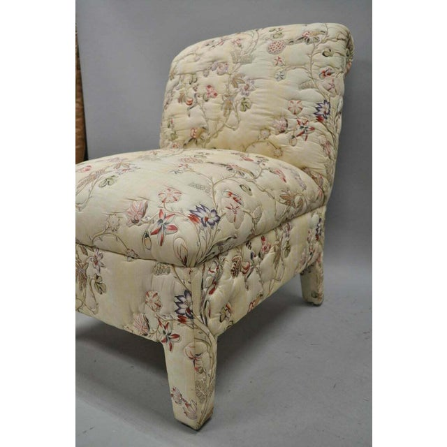 Vintage Upholstered Chinoiserie Slipper Lounge Chairs- A Pair For Sale - Image 9 of 11