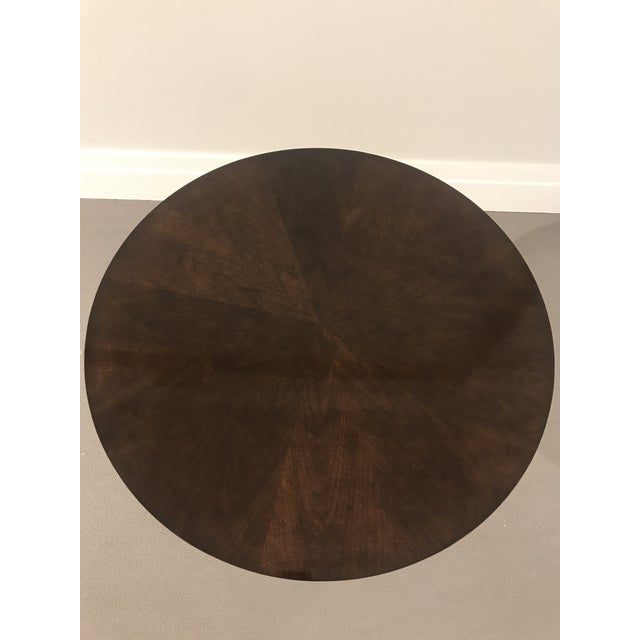 Modern Modern Kravet Metal and Wood Round Side Table For Sale - Image 3 of 11