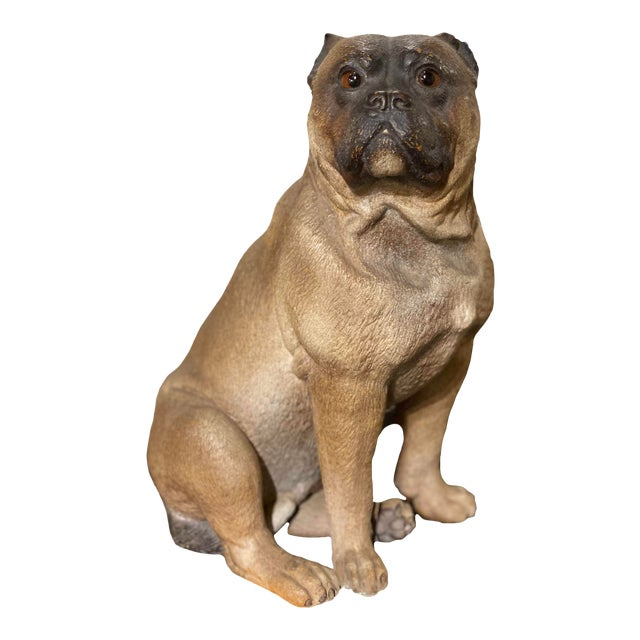 English Terra Cotta Pug With Glass Eyes For Sale