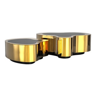 Covet Paris Wave Polished Brass Coffee Table For Sale