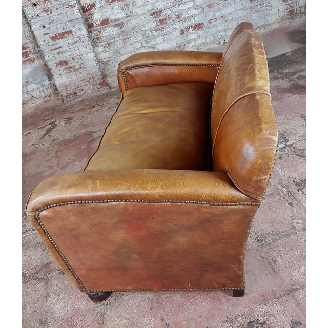 Antique 1930s English Leather Settee For Sale - Image 4 of 9