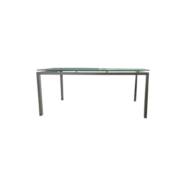 Modern Design Within Reach Glass And Steel Conference Table Chairish - Glass conference table for sale