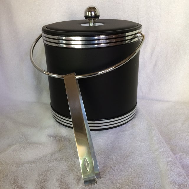 Vintage Black and Chrome Kraftware Ice Bucket & Tongs in Original Box For Sale - Image 13 of 13