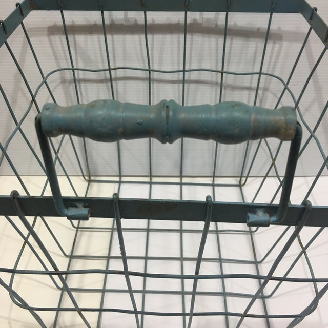 Modern Blue Square Wire Basket with Wood Handles For Sale - Image 3 of 8