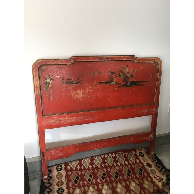 Vintage Chinoiserie Styled Wooden Headboard - Image 2 of 6