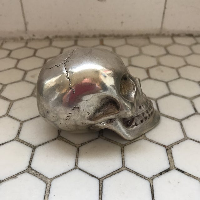 Vintage Silver Metal Skull For Sale - Image 4 of 12