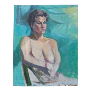Barbara Yeterian 1939-2019 Female Portrait Painting For Sale