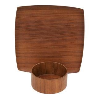 Teak Serving Platter & Bowl - Set of 2 For Sale