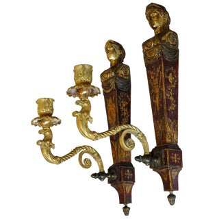 Pair of French Empire Red Tole and Gilt Neoclassical Sconces For Sale