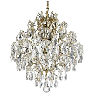 Retro Chandelier - Brass & Clear Drop Aladdin For Sale