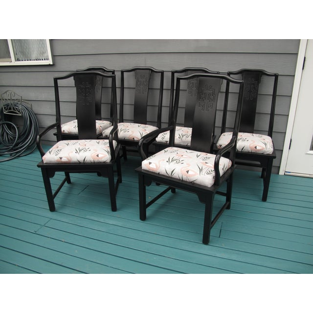 Black 1960s Vintage Century Furniture Dining Chairs- Set of 6 For Sale - Image 8 of 8