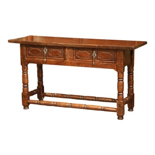 18th Century Spanish Louis XIII Carved Chestnut Console Sofa Table With Drawers