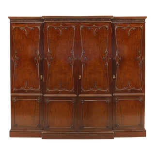 English Victorian Mahogany Armoire Cabinet For Sale