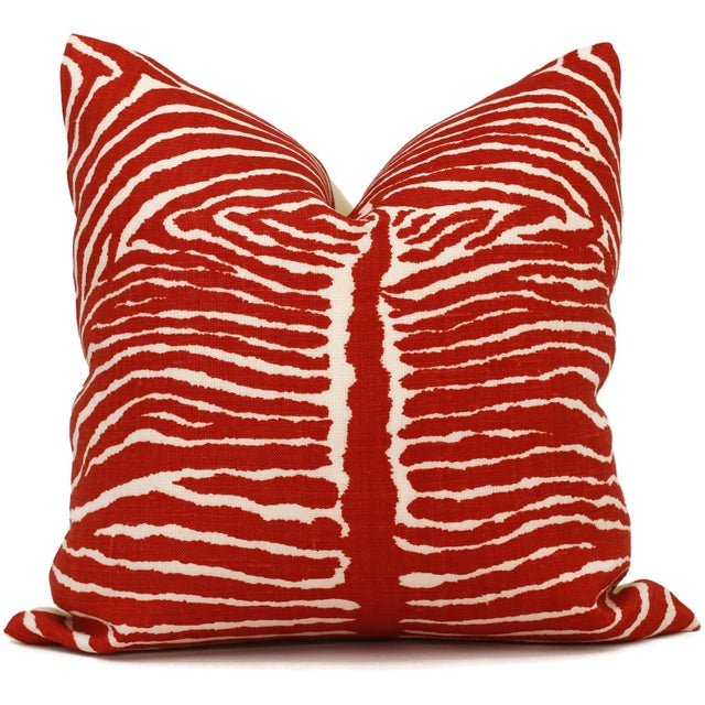 Brunschwig & Fils Transitional Red Le Zebre Linen Pillow Cover For Sale - Image 4 of 4