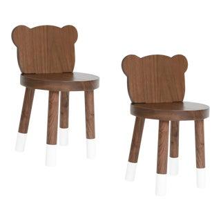Nico & Yeye Baba Kids Chair Solid Walnut White - Set of 2 For Sale