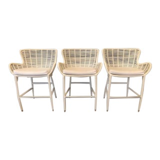 Palecek Palermo Indoor/Outdoor Counter Stools- Set of 3 For Sale