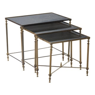Trio of Brass and Black Mirrored Glass Nesting Tables - Set of 3 For Sale