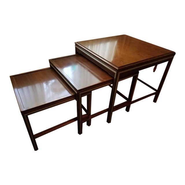 1963 Rare Widdicomb Mid-Century Walnut With Brass Inlay Nesting Tables - Set of 3 For Sale