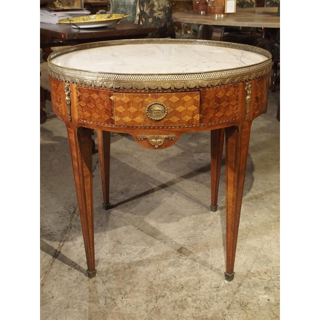 19th Century French 4-Drawer Marble Top Bouillote Table For Sale - Image 13 of 13