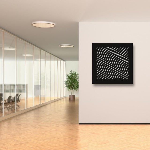 Artist: Chuck Krause (1949) Title: Waves (Black & White) Year: 2020 Medium: Sculpted composite board mounted to colored...
