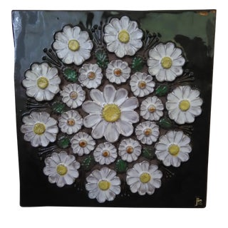 Mid-Century Swedish Floral Wall Plaque by Jie Gantofta For Sale