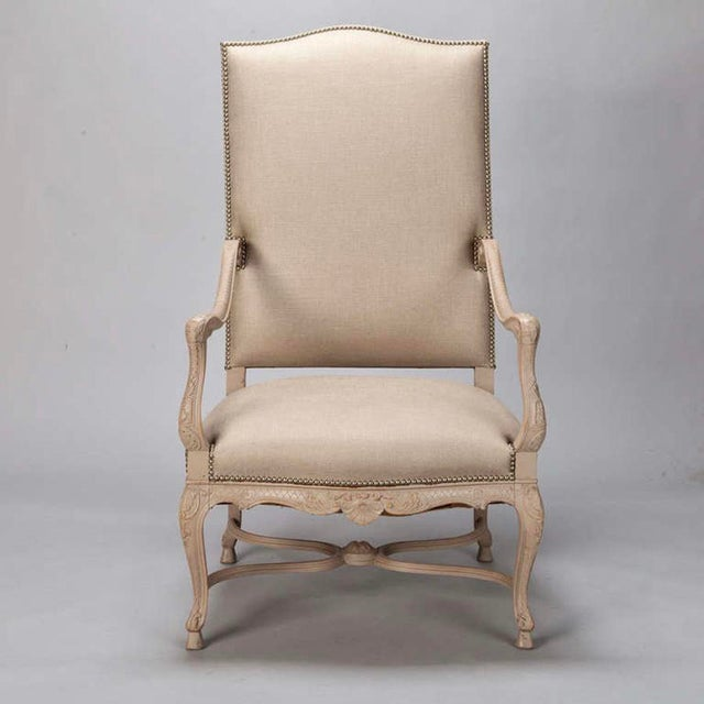 Tall French Arm Chair with Carved Painted Frame - Image 4 of 7
