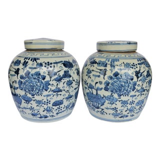 Chinoiserie Blue and White Aviary & Botanical Ginger Jar For Sale