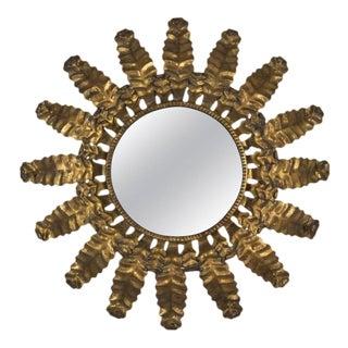 Round Gilt Metal Sunburst Mirror