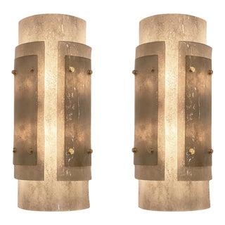 Art Deco Gray Murano Glass Sconces - a Pair For Sale