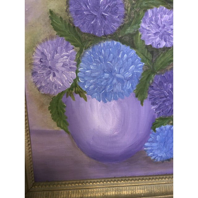Mid-Century Purple Still Life Painting For Sale - Image 4 of 5