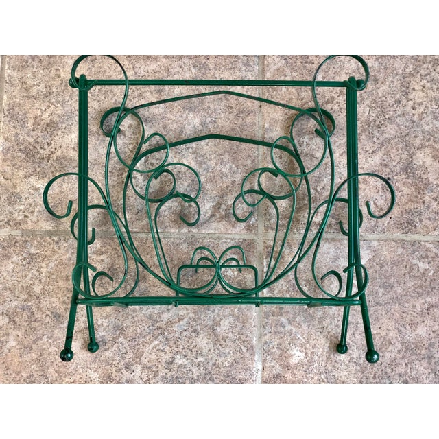 Mid-Century Modern Green Wrought Iron Magazine Rack For Sale - Image 4 of 10