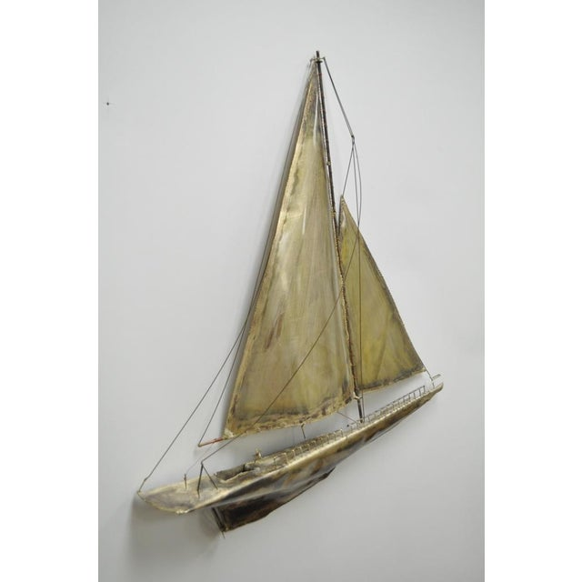 Vintage RaMan Brutalist Mid Century Modern Clipper Ship Wall Sculpture Jere Style - Image 4 of 11