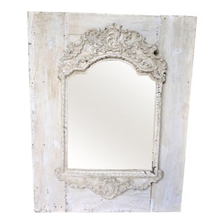 Rustic White Painted Mirror, France