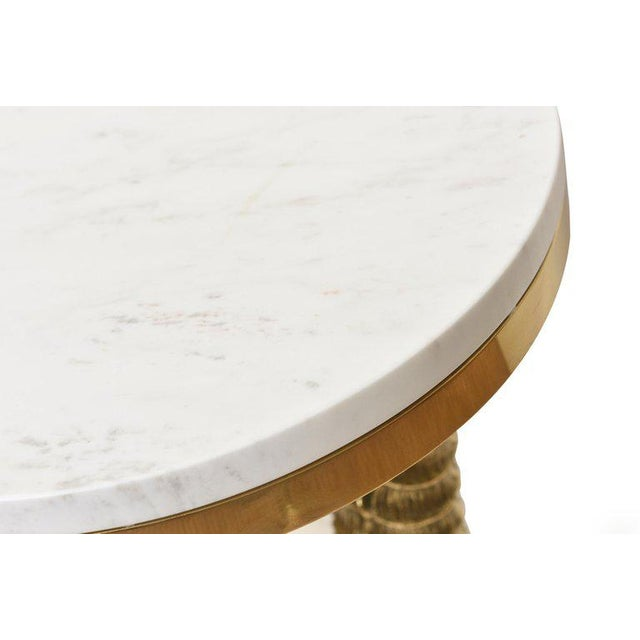 1970's Vintage Solid Brass and Marble Side Horn Table For Sale In Miami - Image 6 of 10