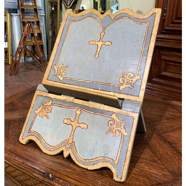 18th Century Italian Carved Giltwood and Painted Holy Bible Folding Book Stand For Sale - Image 10 of 10