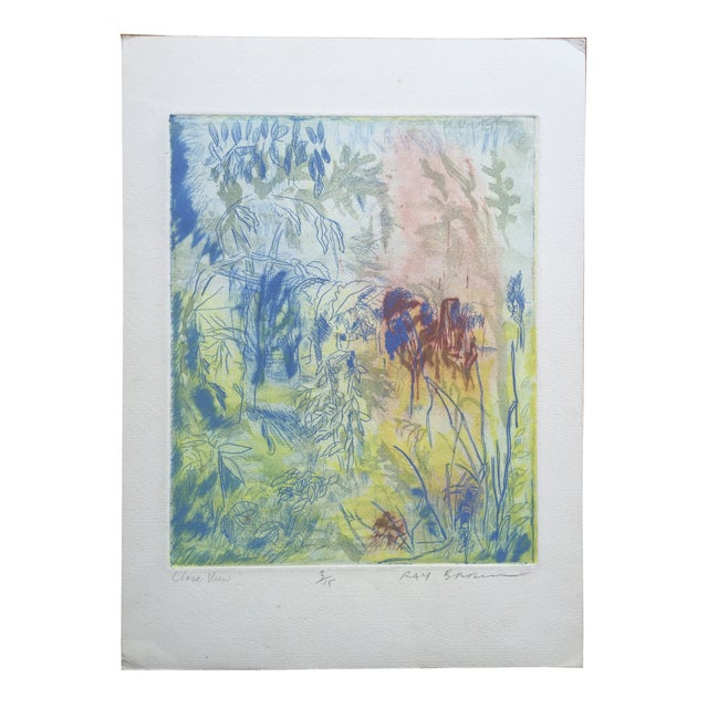 """Original color etching titled """"Close View."""" Signed lower right, Ray Brown and numbered 3/15. Unframed. Minor wear on corners."""