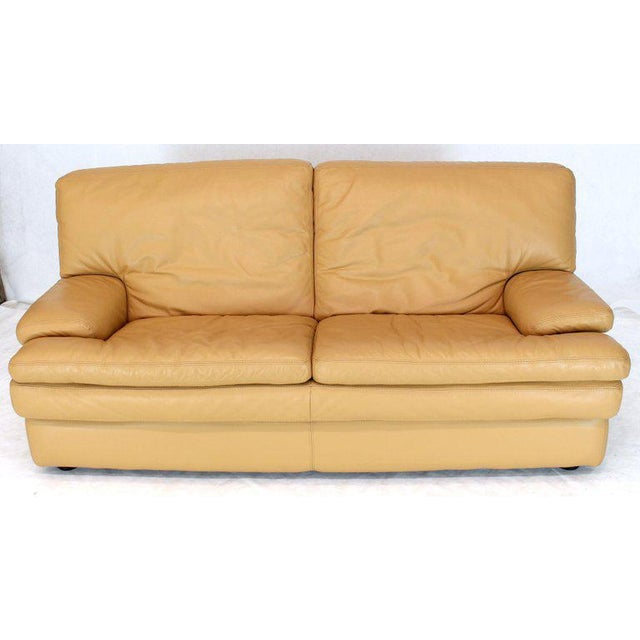 Roche Bobois Light Peach Leather Loveseat Small Sofa For Sale - Image 11 of 11