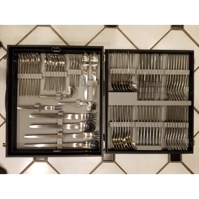 Silver 1950s Mid Century Modern Flatware A. Michelsen - Set of 86 For Sale - Image 8 of 8
