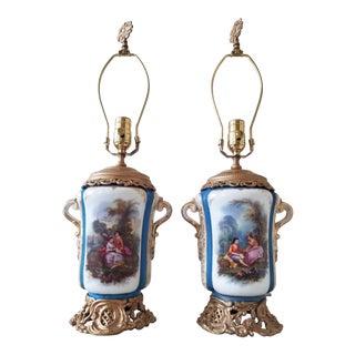 Antique Paris Porcelain Lamps For Sale