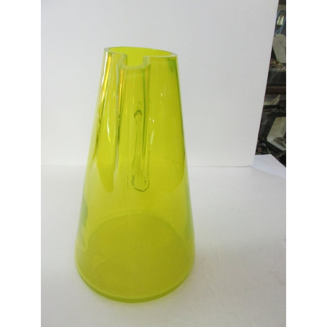 Mid-Century Modern Mid-Century Yellow Glass Pitcher For Sale - Image 3 of 9