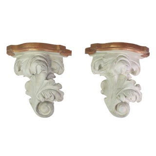 1940s Regency Acanthus Leaves Rococo Revival Wall Shelves - a Pair For Sale
