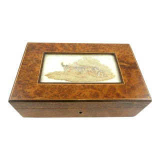 English Burl Wood Lidded Box With Needlework Inset Featuring Hunting Dogs Sporting Life For Sale