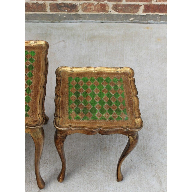 Green Vintage Italian Gold & Green Tole Nesting Tables Gilt Florentine Set of 3 For Sale - Image 8 of 13