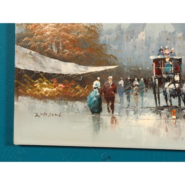 Canvas Paris City Street Original Oil Painting For Sale - Image 7 of 8
