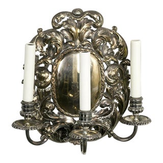 Spanish Silver Shield Triple Candelabra Sconces, Pair (3 Pairs Available) For Sale