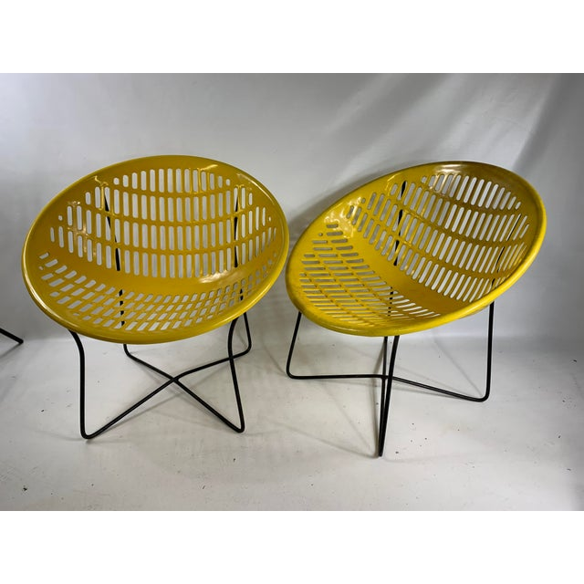 Mid Century Howard Johnson Hotel Yellow Solar Lounge Chairs- a Pair For Sale - Image 11 of 11