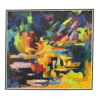 1967 Mid Century Modern Oil Painting on Canvas For Sale