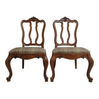 Ethan Allen Tuscany French Carved Dining Room Side Chairs - a Pair