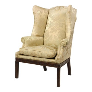 Unusual Antique George III Style Wingback Chair W Silk Damask & Down Cushion For Sale