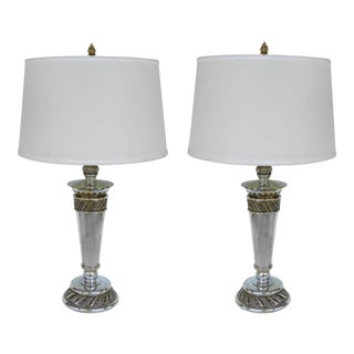 Stiffel Silvered Copper Torch Form Table Lamps- a Pair For Sale